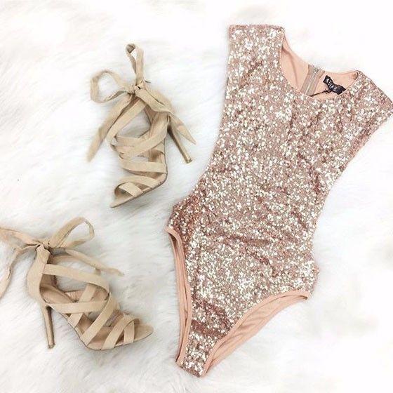 Pink Plain Sparkly Sequin Slim Fashion Short Jumpsuit Bodysuit