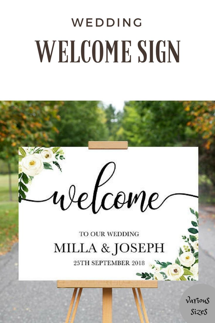 da55c8e2a60aa Wedding Welcome Poster, Welcome to our Wedding Sign, White Floral ...