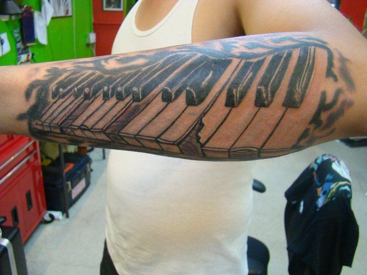 7d5f931a4eff0 Image result for piano tattoo sleeve | mine | Music tattoos, Tattoos y  Flower tattoo designs