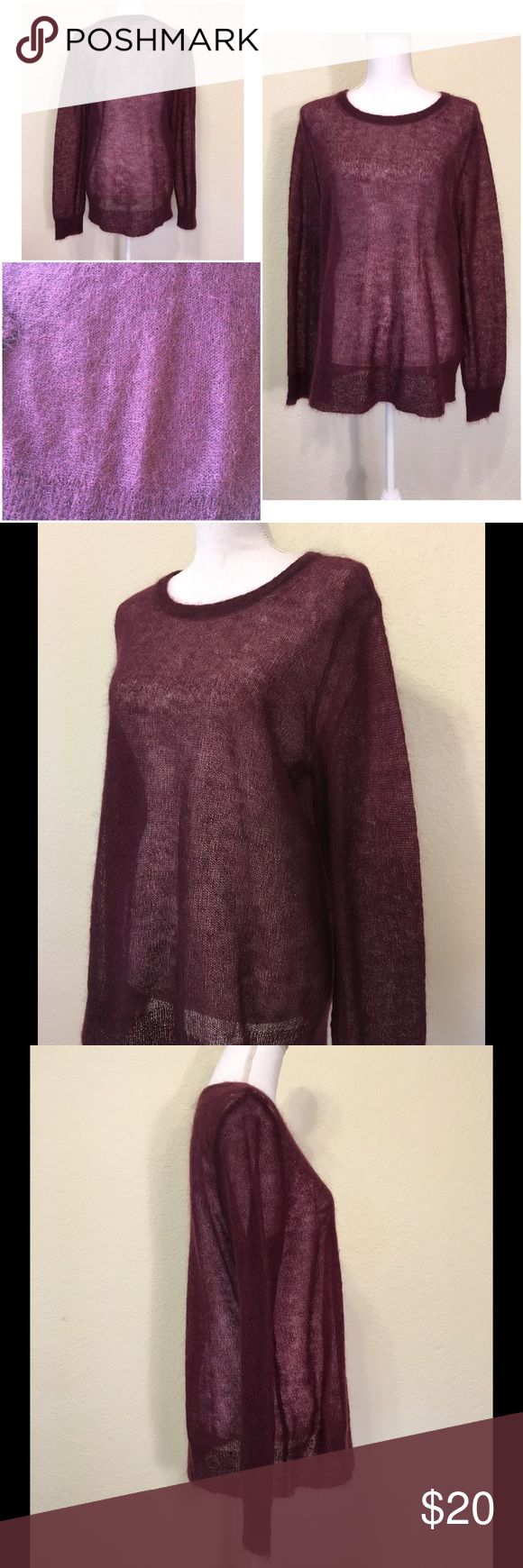 """NWOT J. Jill Maroon Mohair Blend Sweater Size L.  Super soft and fuzzy mohair blend sweater.  Sheer and lightweight.  New - no pulls or pilling.  Length from shoulder to hem: 27"""".  Laid flat measurements – Bust: 42"""", Waist: 42, Hips: 44"""".  Sleeve length: 26"""".  Cuff width: 4"""".  61% mohair, 31% nylon, 8% wool.  Dry clean.    Love it but not the price - I'm open to (reasonable) offers or consider bundling 2 or more items for an additional 15% off and combined shipping!    Check out my reviews…"""