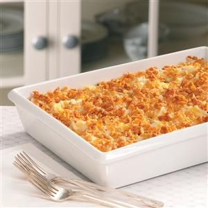 Shredded Potato Casserole Recipe -This potato dish is perfect with prime rib and many other entrees. Make it ahead and have it ready to pop into the oven for the party. The topping of cornflake crumbs and Parmesan cheese adds crunch. —Paula Zsiray, Logan, Utah