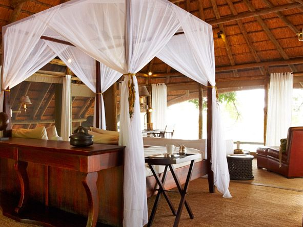Four poster bed at Kings Pool Camp in #Botswana. It may be trite to say it but Kings Pool Camp is genuinely worthy of royalty. #weloveafrica #romance #beds #africa