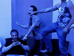 Mark Sheppard sits there like it's completely normal for Richard and Chad to be dancing to Single Ladies