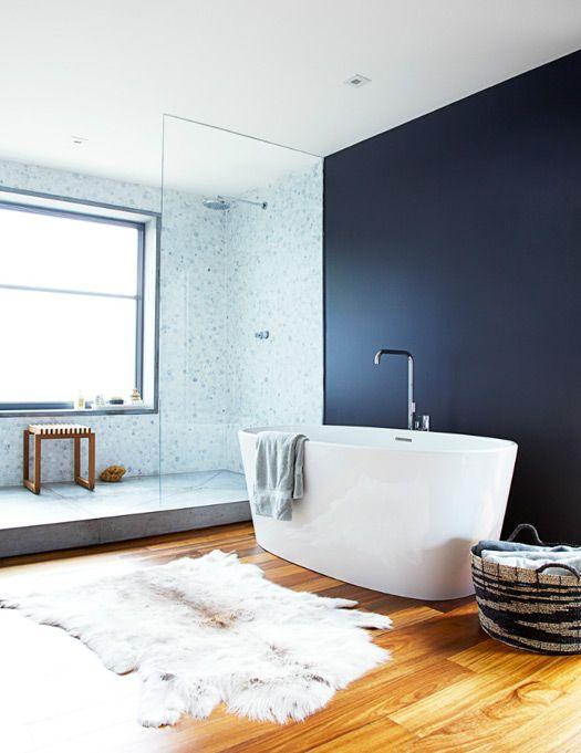 Black wall. Free standing tub. Giant shower enclosure