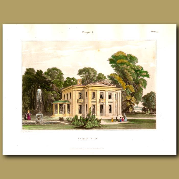 30 x 22 cm (12 x 8.7 inches).This  antique engraving was made in 1833 by Francis Goodwin, an English architect. It is from his work