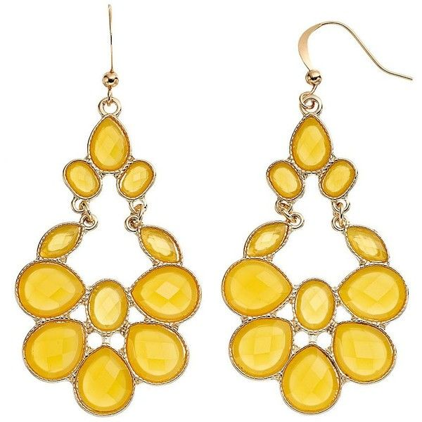 Yellow Faceted Chandelier Earrings ($13) ❤ liked on Polyvore featuring jewelry, earrings, yellow, drop earrings, facet jewelry, chandelier drop earrings, yellow jewelry and fish hook jewelry