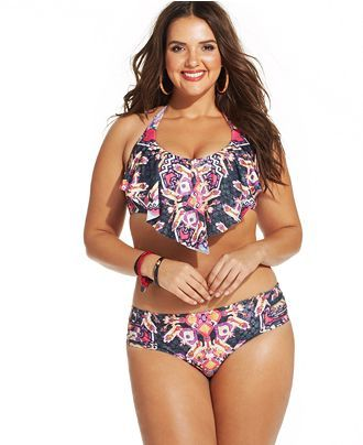 Plus Size Flounce Halter Bikini - Plus Size Swimwear - Plus Size Swimsuit
