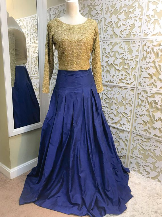 679a7db1fc Gorgeous full length,box-pleated skirt in royal blue color on rawsilk  fabric. Inner under skirt will be tulle fabric for voluminous look. skirt  comes with ...