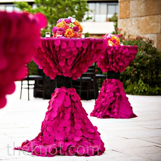 magenta cocktail tables..in gold or black for gatsby