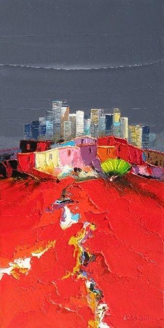 la ville nouvelle (Painting), 30x60 cm par Christian Eurgal