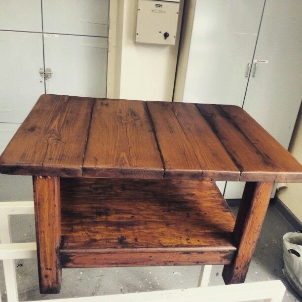 Rustic coffee table made from scaffold boards.