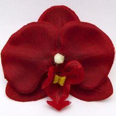 Fleur artificielle orchidée bordeaux rouge pour barrette cheveux x1