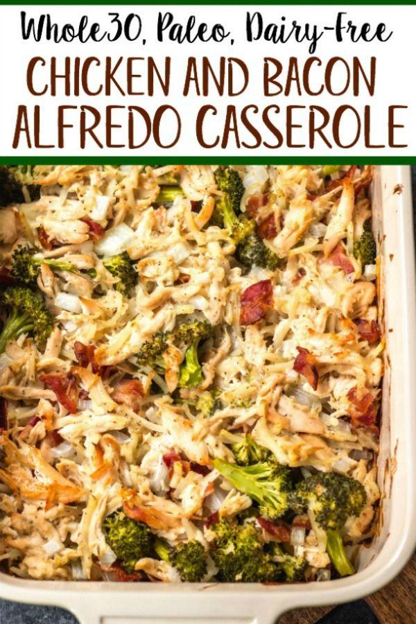 Chicken Bacon Broccoli Alfredo Casserole Whole30 Paleo Dairy