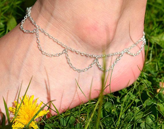 Silver Chain Anklet  Belly Dancer Jewelry  Boho Ankle