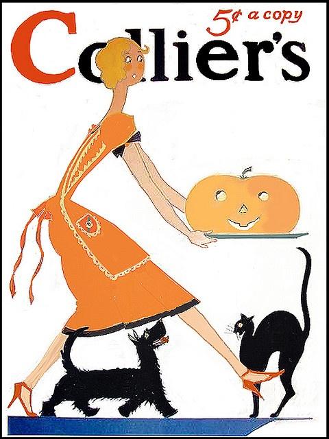 Deco Fun Flapper -- Collier's--Vintage Halloween Magazine Cover