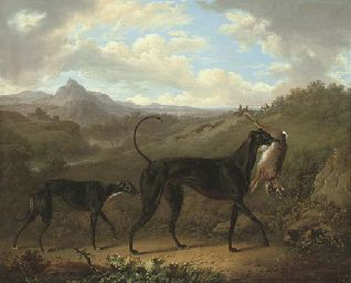 CHARLES TOWNE (1763-1840)  TWO GREYHOUNDS WITH A HARE, IN AN EXTENSIVE MOUNTAINOUS LANDSCAPE WITH HUNTSMEN COURSING BEYOND