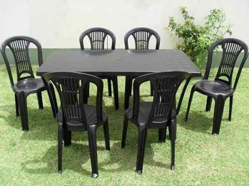 Promocion Mesa Rectangular Ref. Negra + 6 Sillas Reforz.negr - $ 2.350,00 en MercadoLibre