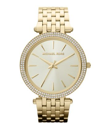 Mid-Size Golden Stainless Steel Darci Three-Hand Glitz Watch by Michael Kors at Neiman Marcus. Christmas?