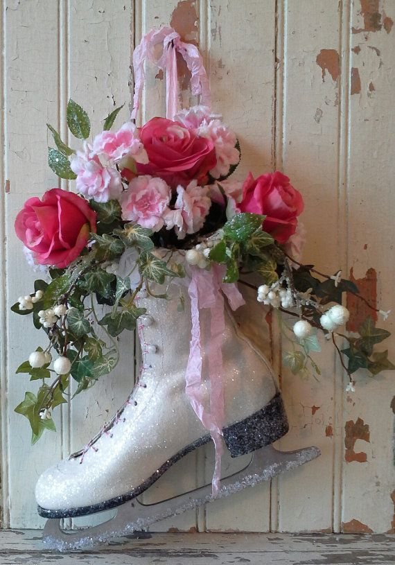 Ice Skate Christmas Ice skate Christmas Wreath Christmas by 6miles, $46.00 Etsy shop is closed but like the idea.