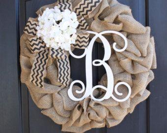 Chevron Burlap Hydrangeas Burlap Wreath Wreaths by OurSentiments