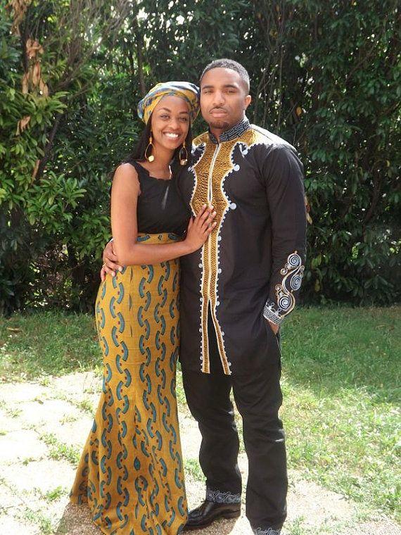Costume masculin traditionnel COUPLE africain par AFRICANISEDSHOP ~African fashion, Ankara, kitenge, African women dresses, African prints, African men's fashion, Nigerian style, Ghanaian fashion ~DKK