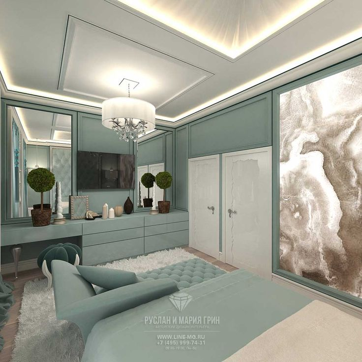 Turquoise bedroom design in a townhouse 213