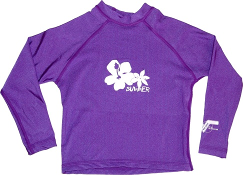 UV Protection - UPF50+ Sun Protection - SPF150 Blocks 98% of harmful UVA & UVB. The fabric (20% Lycra 80% Nylon) is breathable, comfortable and durable. The shirt is purple with extra long sleeves and soft flatlock stitching. The snug fit helps protect skin from rash. The shirt has a white hibiscus/summer print on the front. It is available in the sizes to suit 2-3, 4-5, 6-7, 8-9 & 9-10.