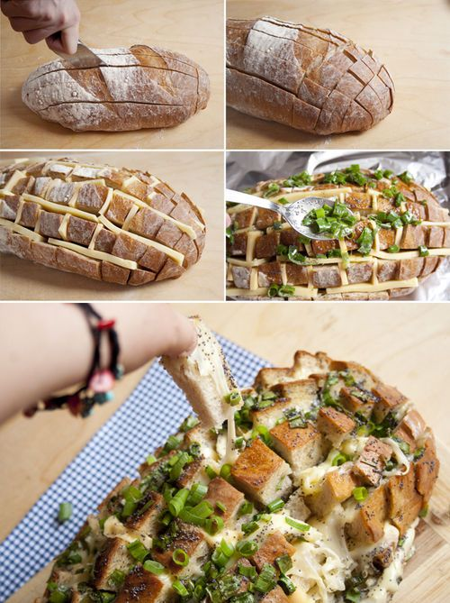 DIY Cheese Bread cheese diy recipe diy food diy recipes diy appetizers diy recipe *VERY YUMMY! Used a Munster-style white cheddar and a Gouda. Would also suggest with Gouda and Swiss
