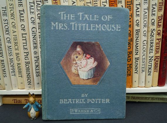 Beatrix Potter Book c1917, The Tale of Mrs Tittlemouse Early Edition, Mouse and Toad Story, Traditional Illustrated Childrens Story, F Warne