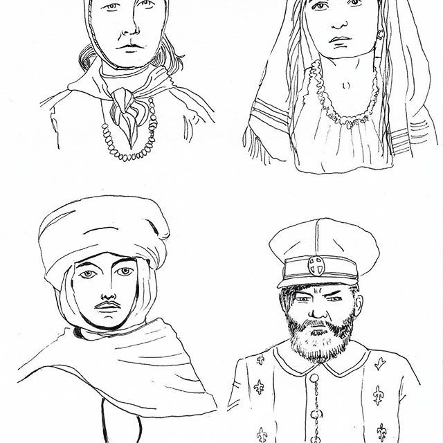 Some sketches of immigrants arriving at Ellis Island at the beginning of the 20th century