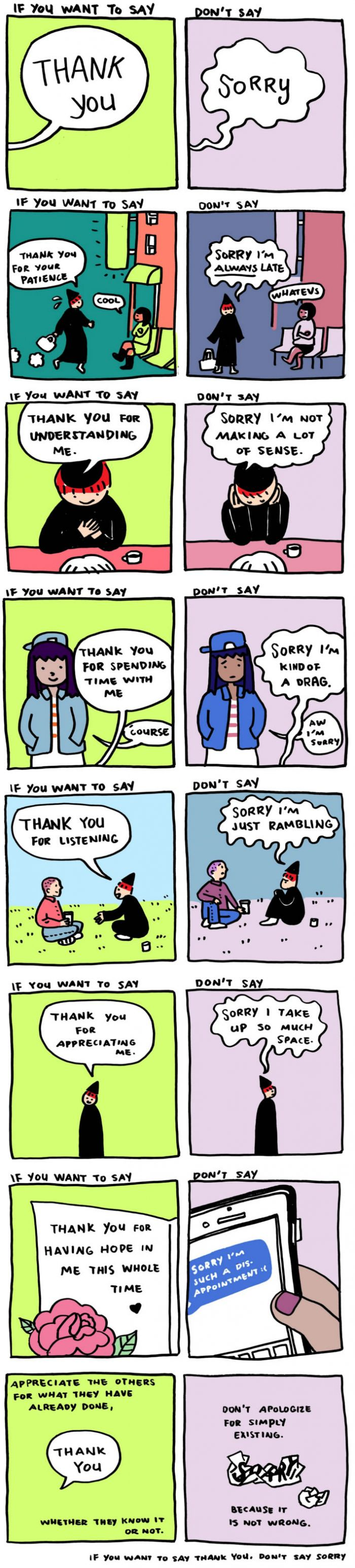 "A comic for people who say ""I'm sorry"" too often<<<I need to remember this because I apologize for things I probably shouldn't"