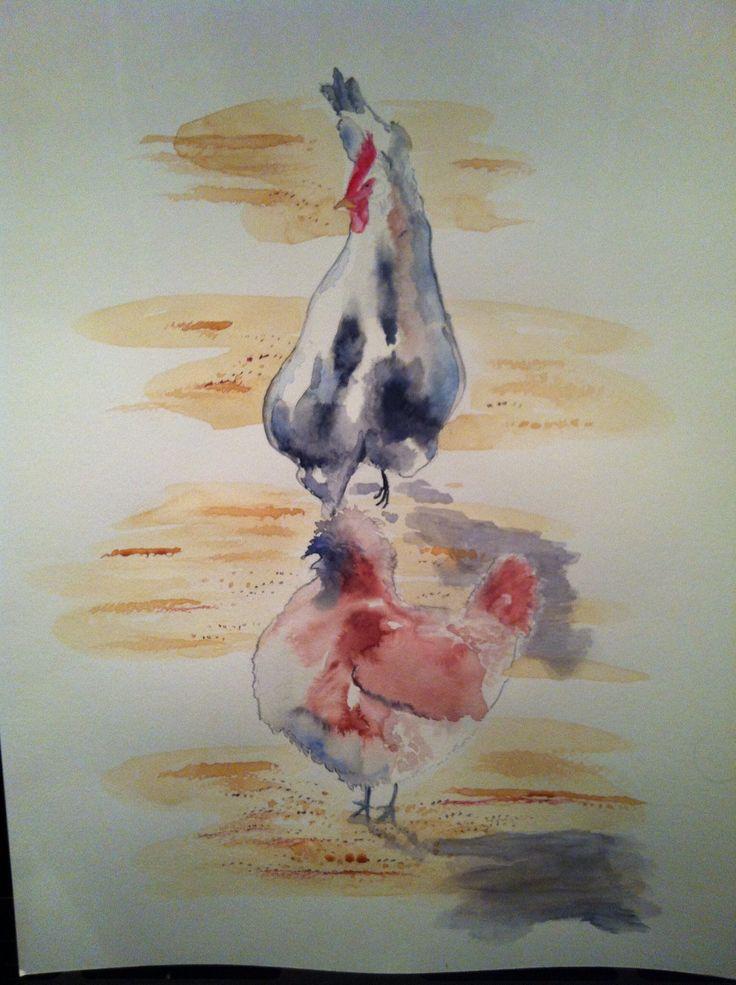 Watercolour Hens