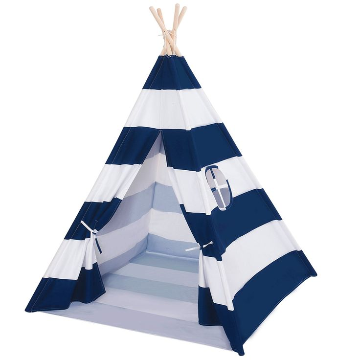 DalosDream Indoor Teepee for Kids with Mattress-Navy Striped