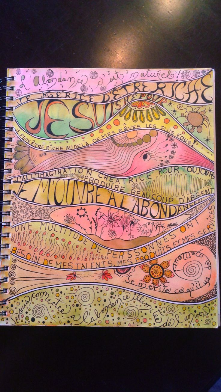 Art Journal. This page is about abundance, was done with watercolors by me.
