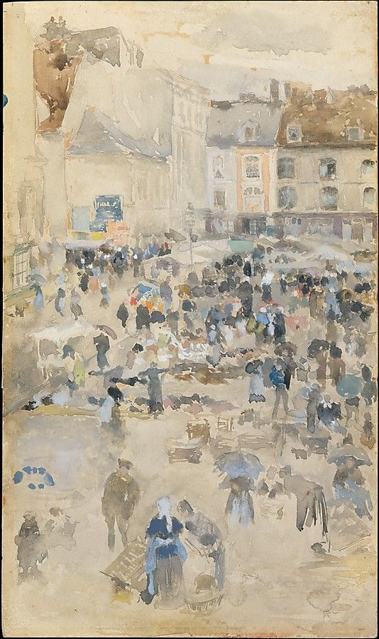 Variations in Violet and Grey—Market Place, Dieppe / James McNeill Whistler / 1885 / Gouache and watercolor on off-white wove paper, mounted on academy board