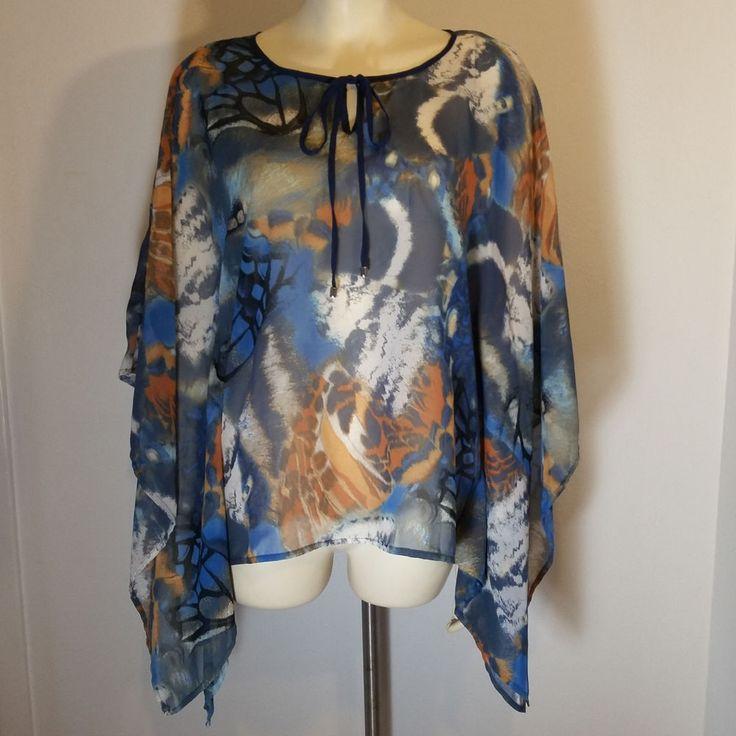KOTON Women's Sheer Top EUR 36 UK 8 Batwing Sleeve Shirt Small Blue Gold #Koton #Blouse