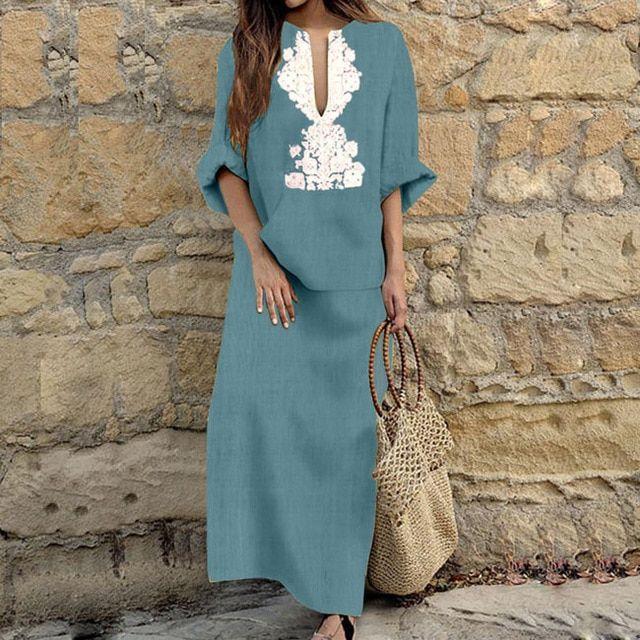 Women loose linen long dress summer print vintage maxi dresses casual long sleeve kaftan beach robe dress 2