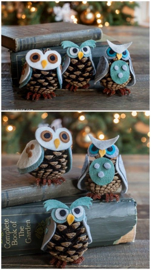 This is so cute anytime. Pinecone Owls - 20 Magical DIY Christmas Home Decorations You'll Want Right Now: