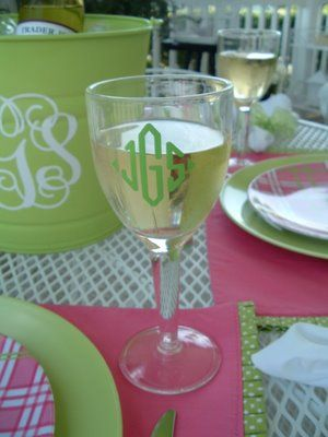 : Monograms Glasses, Buckets, Gifts Ideas, Gift Ideas, Parties, Monograms Monograms, Monogram Wine Glasses, Monograms Everything, Monograms Wine Glasses
