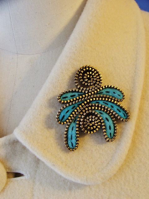 Abstract felt and zipper brooch by woolly fabulous, via Flickr