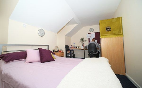 A double en-suite room that is available to book for 2017 if you're studying in Wrexham