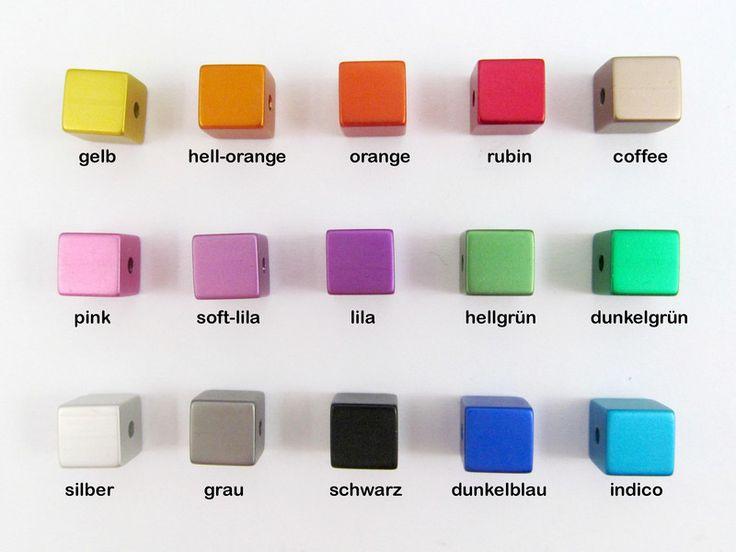 30 Alu Würfel eloxiert 8x8 mm, Wunsch-Farbmix von Schmuckes von der Perlenbraut auf DaWanda.com