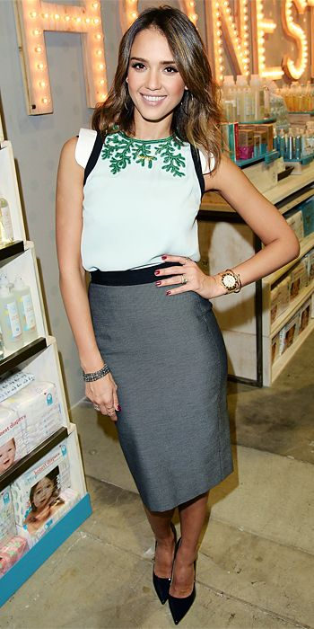 Look of the Day - January 31, 2014 - Jessica Alba in Andrew Gn and Marios Schwab from #InStyle