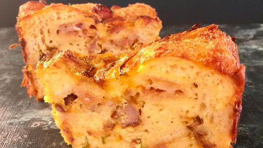 Triple Meat Breakfast Bread Pudding | The Chew  (Try other ingredients like spinach, mushrooms, mozarella, etc.)