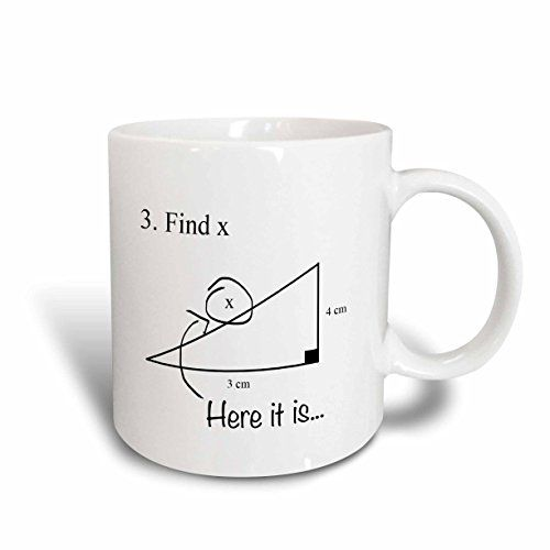 3dRose Find X Here it Is Math Humor School Humor Funny Geometry Algebra Ceramic Mug 11Ounce -- You can get additional details at the image link.