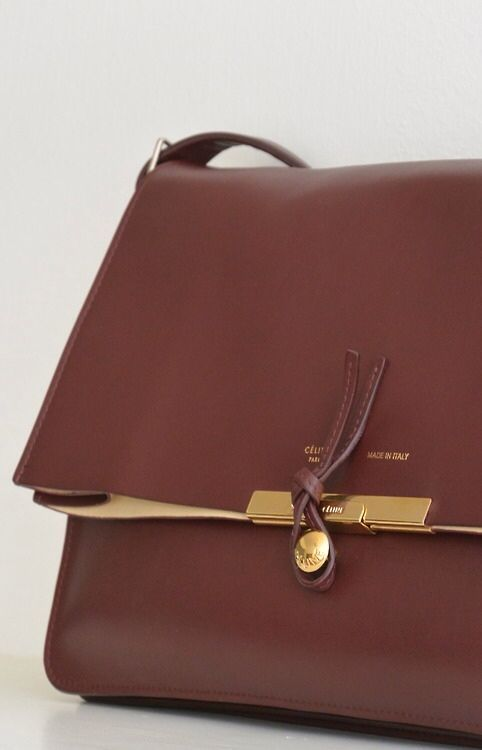 C¨¦line bag in a deep burgundy with gold details. | Bags ...