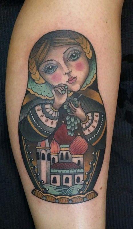 Alex of La Main Bleue http://blog.tattoodo.com/2014/09/40-funky-russian-dolls-tattoos/