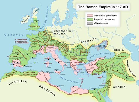 """""""There were 46 provinces under Trajan, a figure that would grow to 96 by the reign of Diocletian (285-305). In Trajan's time, provinces in the interior of the country were run by governors chosen by the Senate, a legislative body run by leading aristocrats. In contrast, border provinces were run by governors named directly by the emperor."""""""