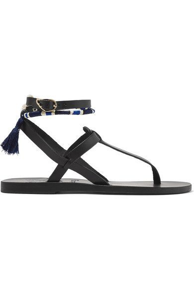 Ancient Greek Sandals - Lemlem Estia Tasseled Leather Sandals - Black - IT38