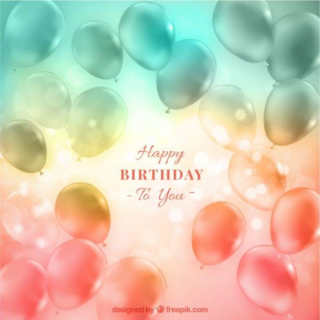 Прозрачные шары на день рождения фон с эффектом боке Бесплатные векторы